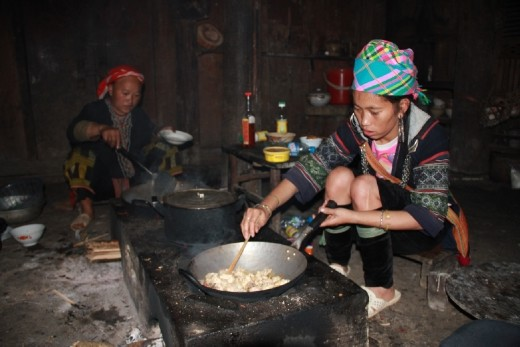 Cooking dinner at the homestay