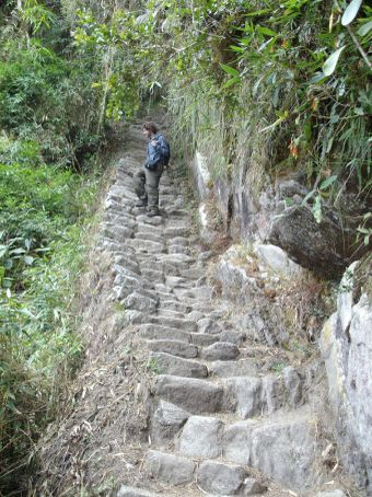 Inca Trail day 3: Me limping my way down the steps