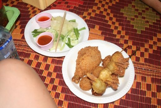 Part of our dinner at a night market in Phnom Penh.... delish! And only about 2 bucks!