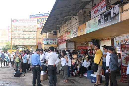 Waiting for our bus to take us from Phnom Penh to Kep!