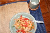 My Papaya Salad... I put 8 Mouse Shit (called Phrik Ki Noo in Thai) Chillies in it and it was divine!! The smaller the chilli, the spicier it is... and these chillies are very small. : by christa_spencer, Views[209]