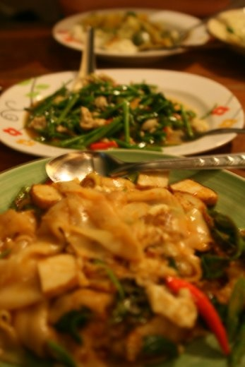 Pak Boon (morning glory sauteed in oyster sauce, garlic and chillies) and pad see ew with tofu and veggies (Thai spicy)!!