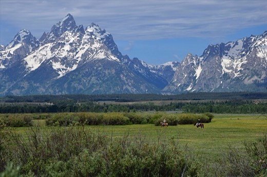 Cowboys riding through Grand Tetons
