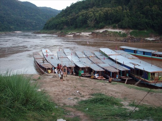 We catch a slow boat up the Mekong River from Laos to Thailand