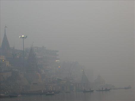 Varanasi in the early morning fog