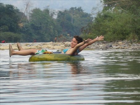 floating down the river in Vang Vieng