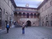 Alli in the courtyard of the Belfry. It dates from the 1100's, I think.: by cmdwedge, Views[241]