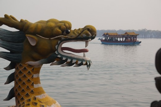 Dragon boats on the lake