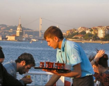 Serving cay (tea) for 50c on the Bosphorus