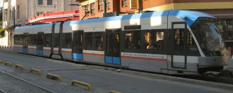 Istanbul Tram - At $1.25 a very inexpensive way to travel - but can be packed in like sardines!