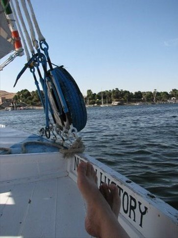 On the felucca (those are my feet)