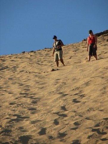 Brendan and Krystal descending the sand dune