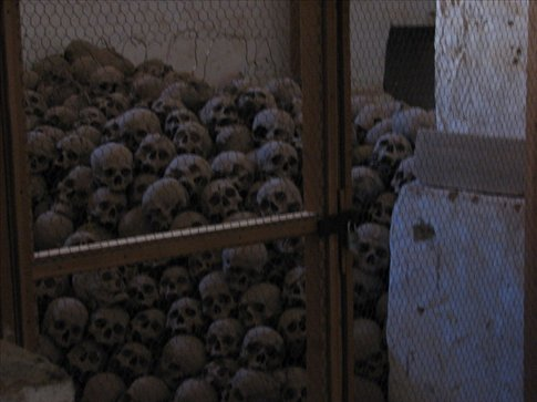The charnel room at St Caths; yes, those are the skulls of disinterred monks