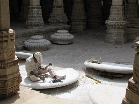 Marble worker in Jain temple