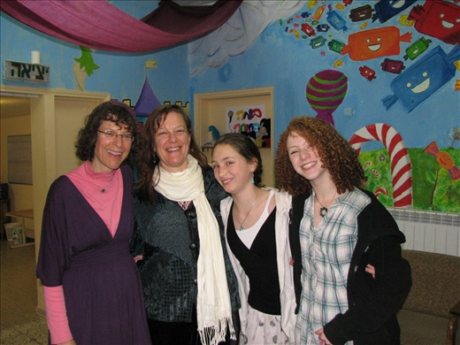 Part of David's family: Pam, Nancy, Tiferet, and Seri