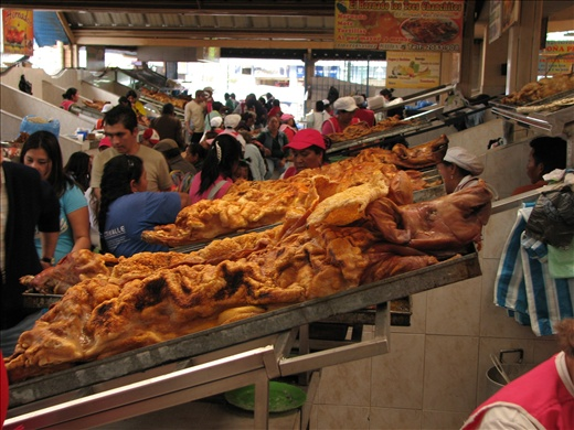 Hornado (roasted pig with skin still attached) at Sangolqui market