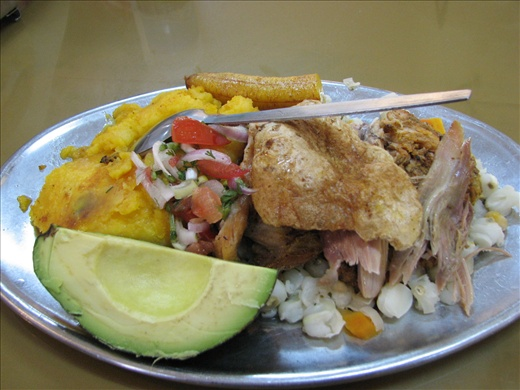 My hornado lunch (yup, this is the big roasted pig..well, parts)