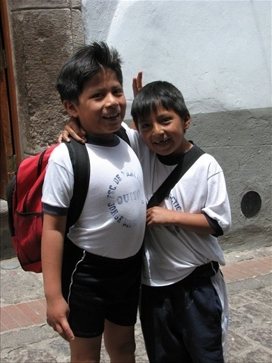 Random school boys who were eager to have their picture taken