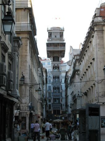 Downtown Lisbon - the skinny thing in the middle is a 106 yr-old elevator