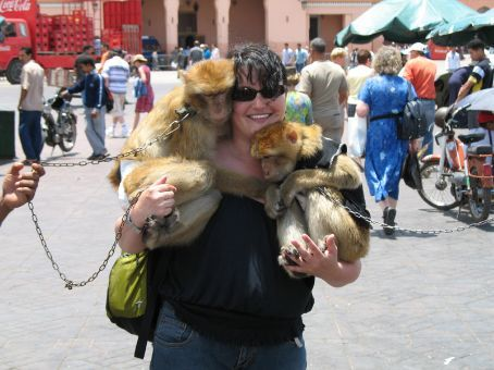 Some random, crazy tourist with a couple of Barbary apes (Marrakesh)