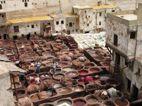 The leather tannery in the Medina (Fez)