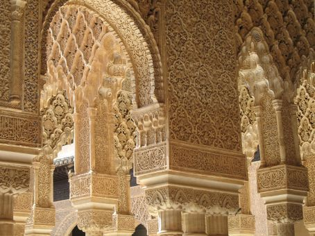 A shot of the detail work inside of the Alhambra Palace