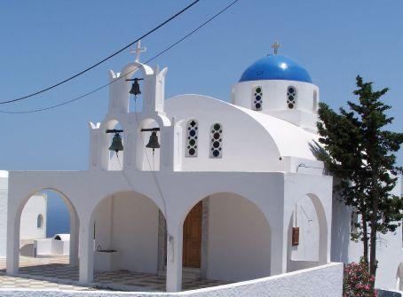 Blue domed church in Firostefani (Santorini)