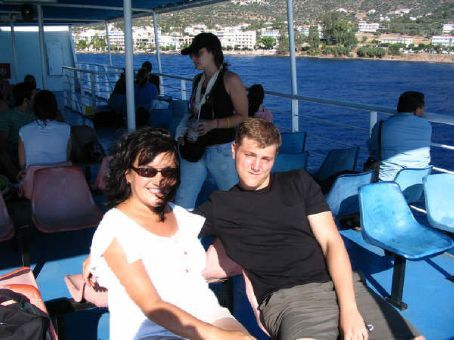 On the ferry to Ydra with a fellow volunteer, Karl (Aegina)