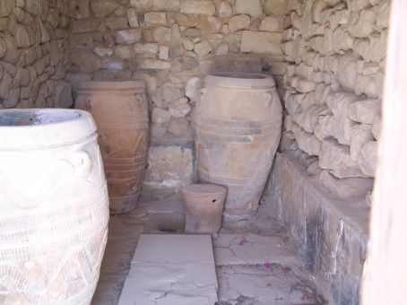 Giant pithoi (storage vases) at Phaestos (Crete)