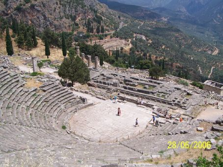 View of the theater ruins from on high (Delphi)