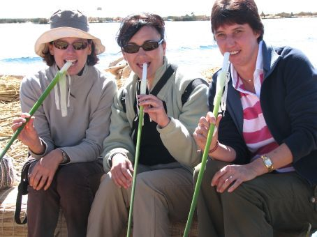 Genelle, me, and Claudine nosh on tortora reed