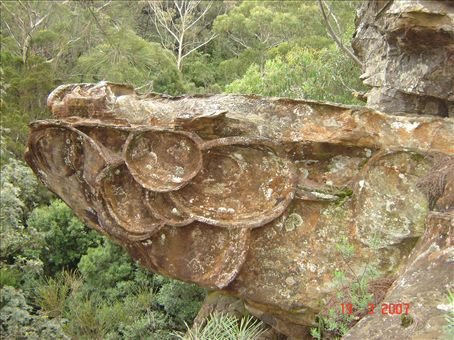 Erikoinen kuvio kalliossa, Blue Mountains