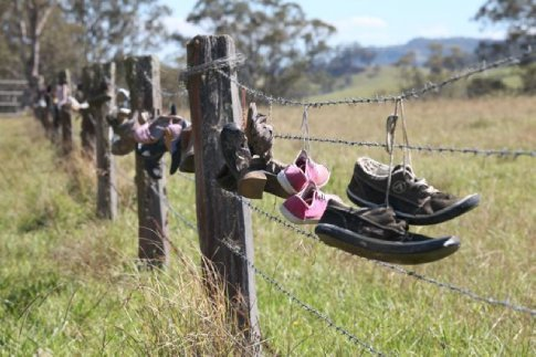 The single lane road up to the campsites was beautiful, and at times, a little strange. This farmer's fence had hundreds of old shoes draped along it. (Chichester State Forest Camping trip, December 2009)