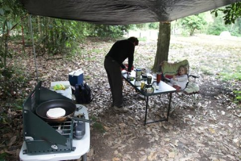 The Kitchen.  Great to have two tables, one for the stove and one for eating at.  We haven definitely moved away from lightweight backpacking these days.    (Chichester State Forest Camping trip, December 2009)
