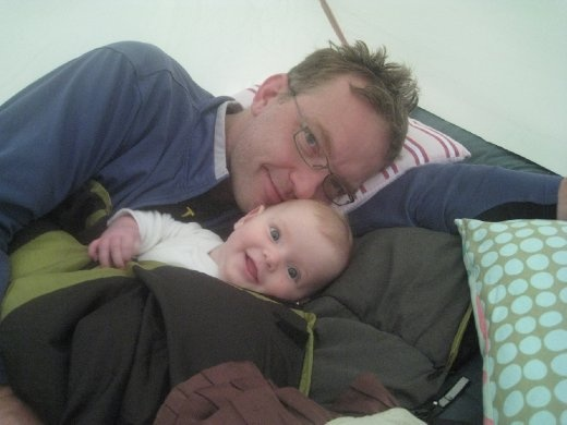 Sam and Evie almost buried under a mound of sleeping bags.  Ah, comfy and warm tent.