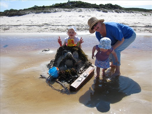 Making a giant sand monster with Granny.  Hansen Bay, Kangaroo Island