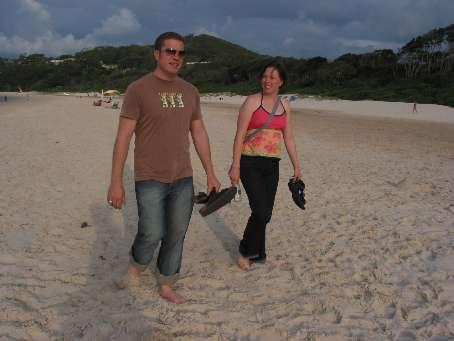 Russell and me - walking down the beach to dinner, Byron Bay