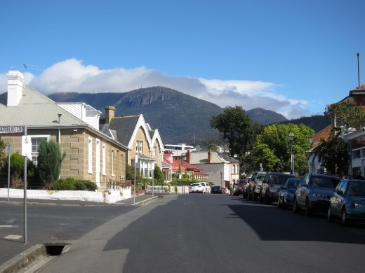 Sunny Sunday morning wander up to the delightful Battery Point.  Mount Wellington peeked out from behind the clouds too.