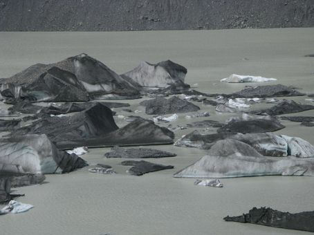 Icebergs floating in the lake at the bottom of the Tasman Glacier.  Very eerie.