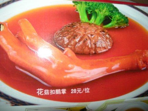 in dem seshuan-restaurant nach der vernisage - auf der speisekarte die füsschen irgendeines vogels. wir haben das zum glück nicht bestellt. dürfte aber eine delikatesse sein hier ... tja