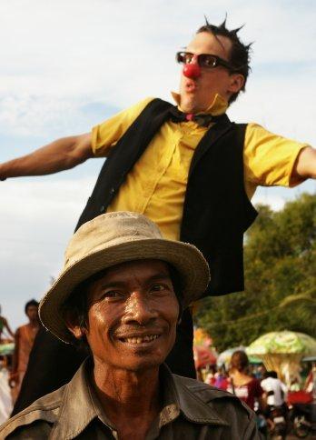 David (Canada) on local transporation during Battambang Parade