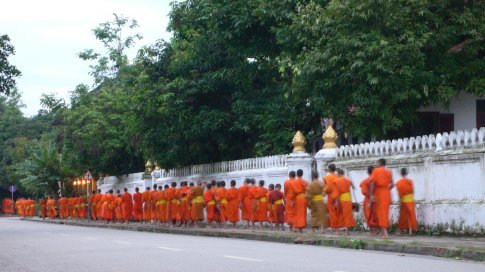 Traditional monk walk in Luang Prabang