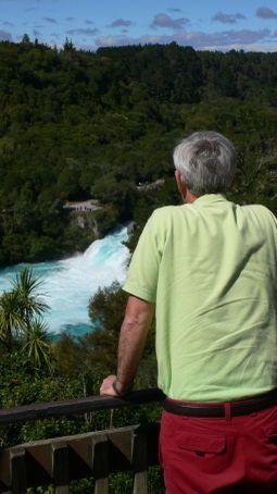 My dad overlooking a random waterfall on our way to lake Taupo