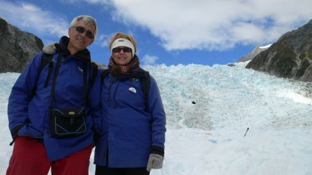My mom and dad on the glacier