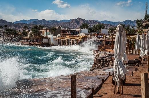Masbat Bay, the heart of Dahab on a stormy day