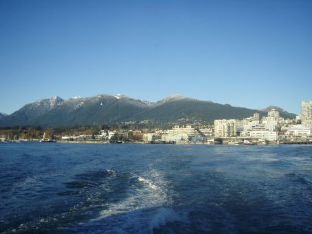 On the Seabus again looking back at North Vancouver