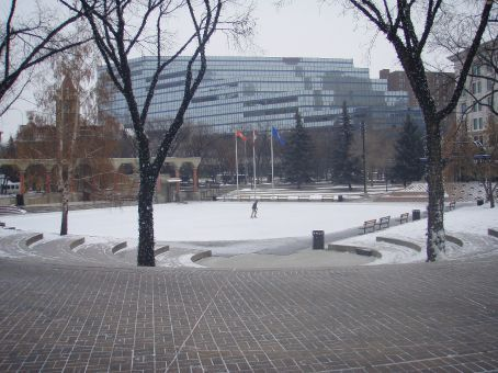 Ice skating rink at the Olympic Plaza in downtown Calgary