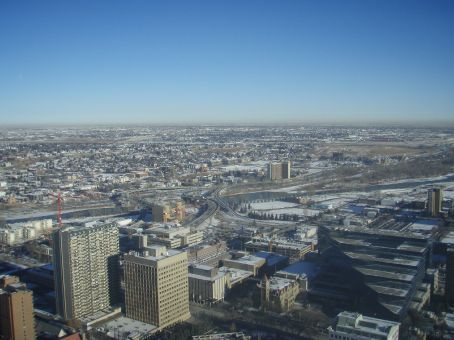 A view from the Calgary Tower of the east side of the city