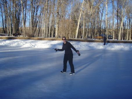Stef pretending to skate on Bowness Lake