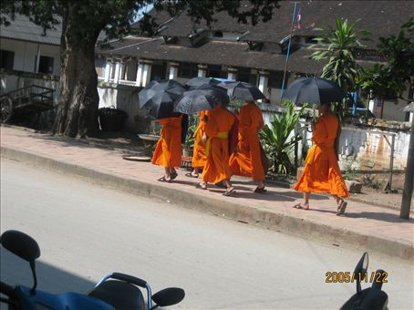 Monks going about their business